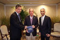 FIFA representative Harold Mayne-Nicholls, Mayor of the City of New York, Michael R. Bloomberg,   and Sunil Gulati prior a reception for members of the FIFA World Cup Inspection Delegation at the St. Regis Hotel in New York, NY, on September 06, 2010.