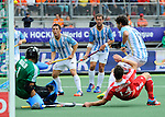 The Hague, Netherlands, June 15: Pedro Ibarra #5 of Argentina and Juan Ignacio Gilardi #4 of Argentina look on during the field hockey bronze match (Men) between Argentina and England on June 15, 2014 during the World Cup 2014 at Kyocera Stadium in The Hague, Netherlands. Final score 2-0 (0-0)  (Photo by Dirk Markgraf / www.265-images.com) *** Local caption ***