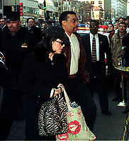 ***FILE PHOTO*** Bill Clinton Has Not Apologized To Monica Lewinsky And Claims Did The Right Thing Staying In Office.<br /> <br /> Washington, DC - January 30, 1999 -- Monica Lewinsky, accompanied by attorney Billy Martin, arrives at the Mayflower Hotel where her testimony in the President's Impeachment trial will be taken.<br /> CAP/MPI/RS<br /> &copy;RS/MPI/Capital Pictures