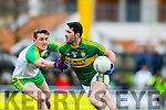 Bryan Sheehan, Kerry, in action against Hugh McFadden, Donegal, in the national Football League, Division 1, Round 4, at Austin Stack Park, Tralee on Sunday.