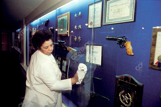 Nancy Rooks in the Trophy Room at Graceland, home of Elvis Presley, Memphis, Tennessee, USA, May 1987