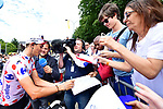 Polka Dot Jersey Warren Barguil (FRA) Team Sunweb with fans before the start of Stage 21 of the 104th edition of the Tour de France 2017, an individual time trial running 1.3km from Montgeron to Paris Champs-Elysees, France. 23rd July 2017.<br /> Picture: ASO/Alex Broadway | Cyclefile<br /> <br /> <br /> All photos usage must carry mandatory copyright credit (&copy; Cyclefile | ASO/Alex Broadway)