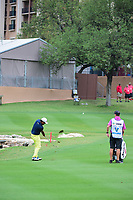 Anirban Lahiri (IND) watches his approach shot on 18 during round 1 of the Valero Texas Open, AT&amp;T Oaks Course, TPC San Antonio, San Antonio, Texas, USA. 4/20/2017.<br /> Picture: Golffile | Ken Murray<br /> <br /> <br /> All photo usage must carry mandatory copyright credit (&copy; Golffile | Ken Murray)