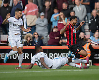 Bournemouth's Joshua King (right) is tackled by West Ham United's Angelo Ogbonna (left) <br /> <br /> Photographer David Horton/CameraSport<br /> <br /> The Premier League - Bournemouth v West Ham United - Saturday 28th September 2019 - Vitality Stadium - Bournemouth<br /> <br /> World Copyright © 2019 CameraSport. All rights reserved. 43 Linden Ave. Countesthorpe. Leicester. England. LE8 5PG - Tel: +44 (0) 116 277 4147 - admin@camerasport.com - www.camerasport.com