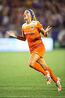 Orlando, Florida - Saturday, April 23, 2016: Houston Dash forward Rachel Daly (3) is frustrated by an offsides call during an NWSL match between Orlando Pride and Houston Dash at the Orlando Citrus Bowl.
