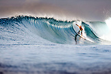 INDONESIA, Mentawai Islands, a man surfing a wave called Bankvaults