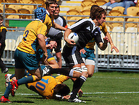 Luke Whitelock breaks, leaving James Ambrosini sprawling during the International rugby match between New Zealand Secondary Schools and Suncorp Australia Secondary Schools at Yarrows Stadium, New Plymouth, New Zealand on Friday, 10 October 2008. Photo: Dave Lintott / lintottphoto.co.nz