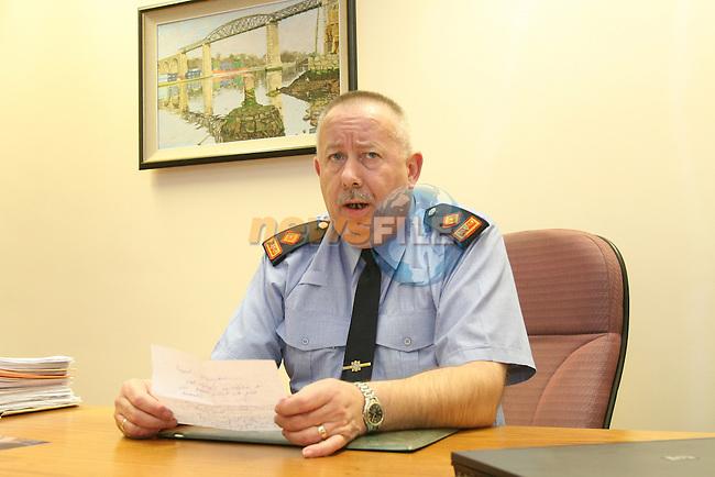 Garda Supt. Gerry Smith briefing the waiting Media about the now murder of Darren McKeown...Photo: Newsfile/Fran Caffrey.