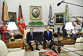 United States President Donald J. Trump (R) meets with Prime Minister Mariano Rajoy of Spain in the Oval Office of The White House September 26, 2017 in Washington, DC.<br /> Credit: Olivier Douliery / Pool via CNP