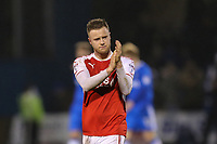 Kevin O'Connor of Fleetwood Town acknowledges the travelling fans after the Sky Bet League 1 match between Gillingham and Fleetwood Town at the MEMS Priestfield Stadium, Gillingham, England on 27 January 2018. Photo by David Horn.