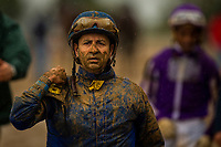 LEXINGTON, KY - OCTOBER 08: Joe Bravo walks back to the jockey's room after the Dixiana Bourbon Stakes at Keeneland Race Course on October 08, 2017 in Lexington, Kentucky. (Photo by Alex Evers/Eclipse Sportswire/Getty Images)