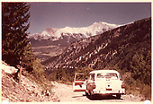 Maxwell's 1956 Ford ranch station wagon on RGS roadbed at MP 39 looking north.<br /> RGS  near Vance Junction, CO  Taken by Maxwell, John W. - 8/1960