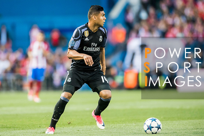 Carlos Henrique Casemiro of Real Madrid in action during their 2016-17 UEFA Champions League Semifinals 2nd leg match between Atletico de Madrid and Real Madrid at the Estadio Vicente Calderon on 10 May 2017 in Madrid, Spain. Photo by Diego Gonzalez Souto / Power Sport Images