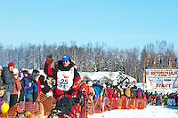 Veteran Iditarod champion musher Paul Gebhardt leaves the gate at the Restart of Iditarod 2012, Willow, Alaska, March 4, 2012