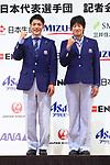 (L-R) <br />   Ryota Yamagata, <br />  Yukiko Ueno (JPN), <br /> AUGUST 13, 2018 - Asian Games :<br /> Japan Delegation attend a press conference <br /> for the 2018 Jakarta Palembang Asian Games <br /> in Tokyo, Japan. <br /> (Photo by Naoki Nishimura/AFLO SPORT)