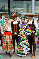 Mexican folk dancers at the Mexico Fest 2012 celebrations on Sept. 8, 2012 in Vancouver, British Columbia, Canada. These celebrations commemorated 202 years of Mexican Independence. .