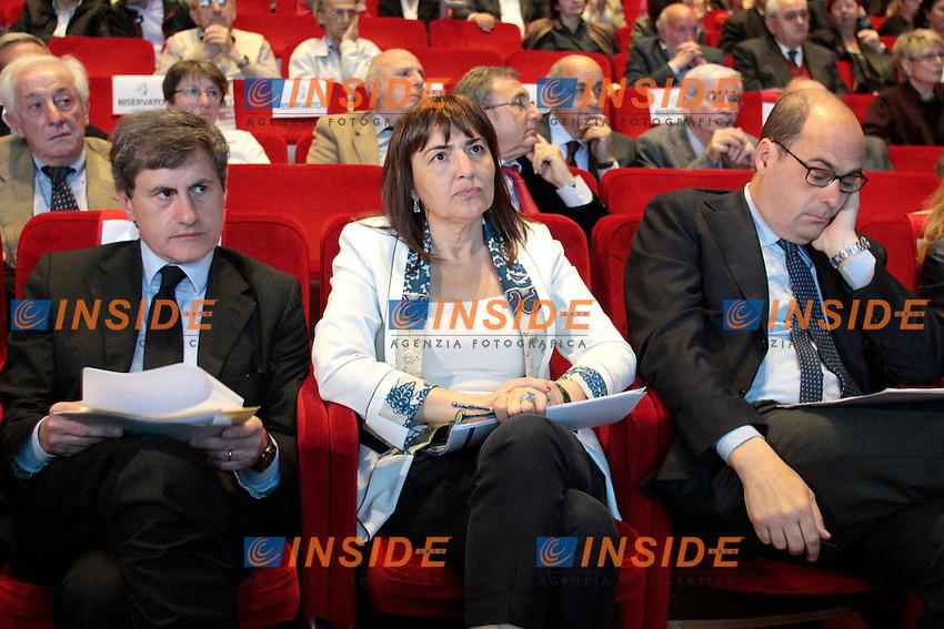 Gianni Alemanno, Renata Polverini e Nicola Zingaretti.Roma 08/05/2012 Celebrazione del 120° anniversario della Camera del Lavoro di Roma..Photo Samantha Zucchi Insidefoto