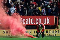 A red flare is thrown onto the pitch from the home end to celebrate Charlton's opening goal during Charlton Athletic vs Doncaster Rovers, Sky Bet EFL League 1 Play-Off Football at The Valley on 17th May 2019