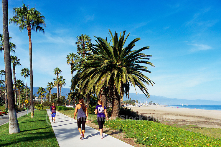 Santa Barbara, California, USA - Women power walking on a Sidewalk in Shoreline Park, along Shoreline Drive and Waterfront Beach