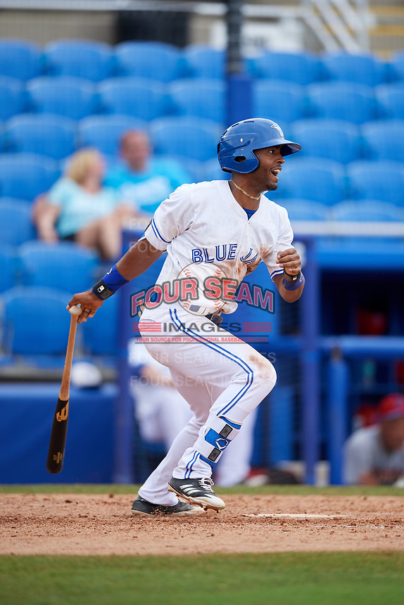 Dunedin Blue Jays right fielder Joshua Palacios (7) follows through on a swing during a game against the Clearwater Threshers on April 8, 2018 at Dunedin Stadium in Dunedin, Florida.  Dunedin defeated Clearwater 4-3.  (Mike Janes/Four Seam Images)