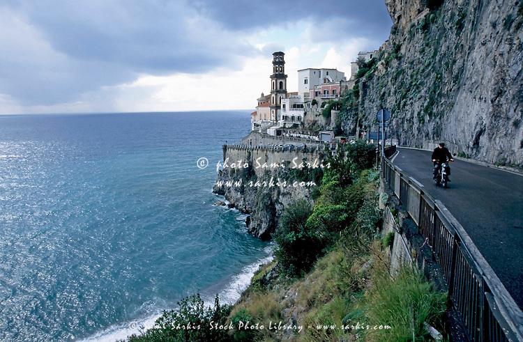 Church tower on the hillside, Atrani, Amalfi Coast, Italy.