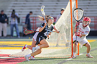 College Park, MD - April 27, 2019: John Hopkins Bluejays Aurora Cordingley (45) runs towards the goal during the game between John Hopkins and Maryland at  Capital One Field at Maryland Stadium in College Park, MD.  (Photo by Elliott Brown/Media Images International)