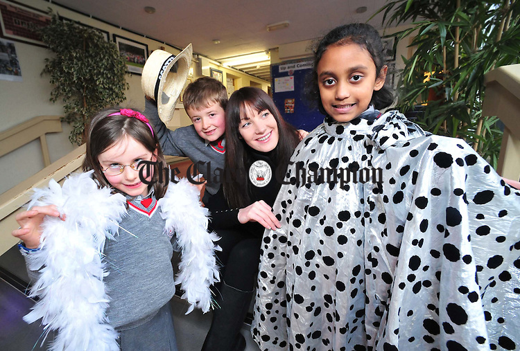 Martina Costello with Lucy Rocke, Liam Mahony and Shakara Zaman at the launch of Ennis National School's Style Occasion Fashion Show which takes place on February 15. Photograph by Declan Monaghan