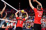 14.09.2019, Paleis 12, BrŸssel / Bruessel<br />Volleyball, Europameisterschaft, Deutschland (GER) vs. Belgien (BEL)<br /><br />Zuspiel Lukas Kampa (#11 GER), Tobias Krick (#2 GER)<br /><br />  Foto © nordphoto / Kurth