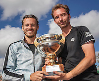 The Hague, Netherlands, 31 July, 2016, Tennis,  The Hague Open, Doubles Final: Winners  Matwe Middelkoop (NED) / Wesley Koolhof (NED) (L) with the trophy after winning the titel<br />