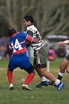 Lelia Masaga breaks through the Ardmore Marist midfield on the way to scoring the first of his 2 tries. Counties Manukau Premier Club Rugby game between Manurewa & Ardmore Marist, played at Mountfort Park Manurewa on Saturday June 21st 2008..Manurewa won 32 - 29.