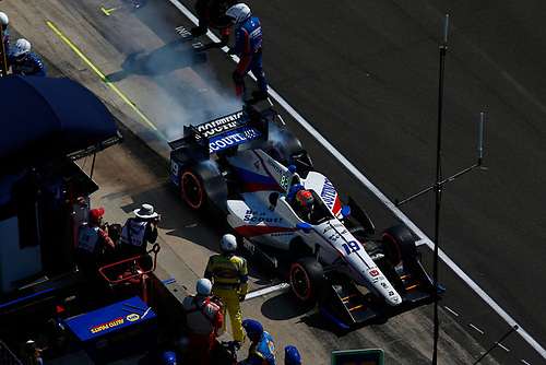 Verizon IndyCar Series<br /> IndyCar Grand Prix<br /> Indianapolis Motor Speedway, Indianapolis, IN USA<br /> Saturday 13 May 2017<br /> Ed Jones, Dale Coyne Racing Honda pit stop<br /> World Copyright: Phillip Abbott<br /> LAT Images<br /> ref: Digital Image abbott_indyGP_0517_4892