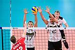 16.09.2019, Lotto Arena, Antwerpen<br />Volleyball, Europameisterschaft, Deutschland (GER) vs. …sterreich / Oesterreich (AUT)<br /><br />Angriff Alexander Berger (#12 AUT) - Block / Doppelblock Jan Zimmermann (#17 GER), Tobias Krick (#2 GER)<br /><br />  Foto © nordphoto / Kurth