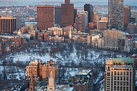 Boston Common, view from Prudential tower, Boston, MA winter