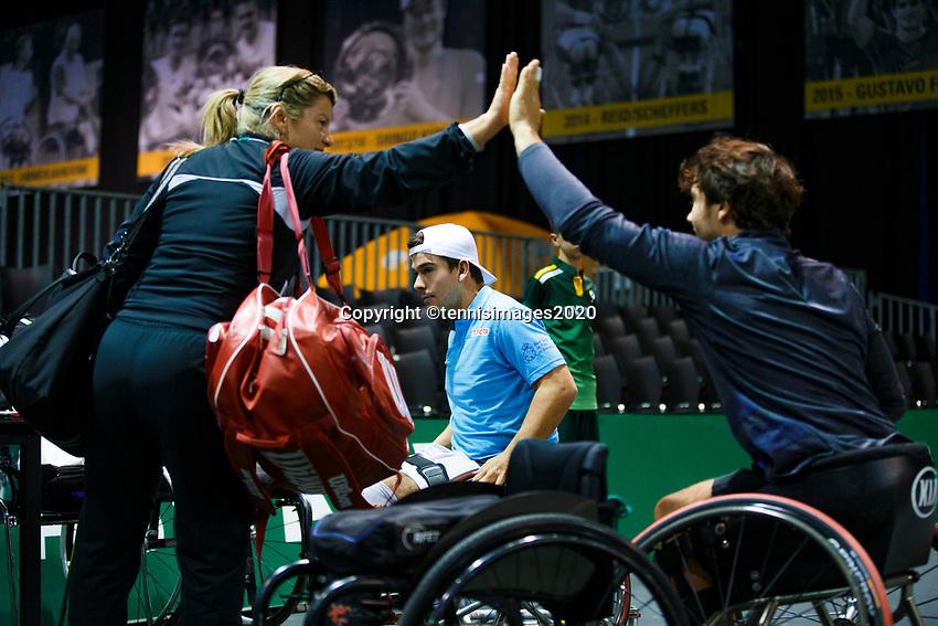 Rotterdam, The Netherlands, 11 Februari 2020, ABNAMRO World Tennis Tournament, Ahoy, <br /> Wheelchair tennis: Daniel Caverzaschi/ Martin De La Puente (ESP)<br /> Photo: www.tennisimages.com