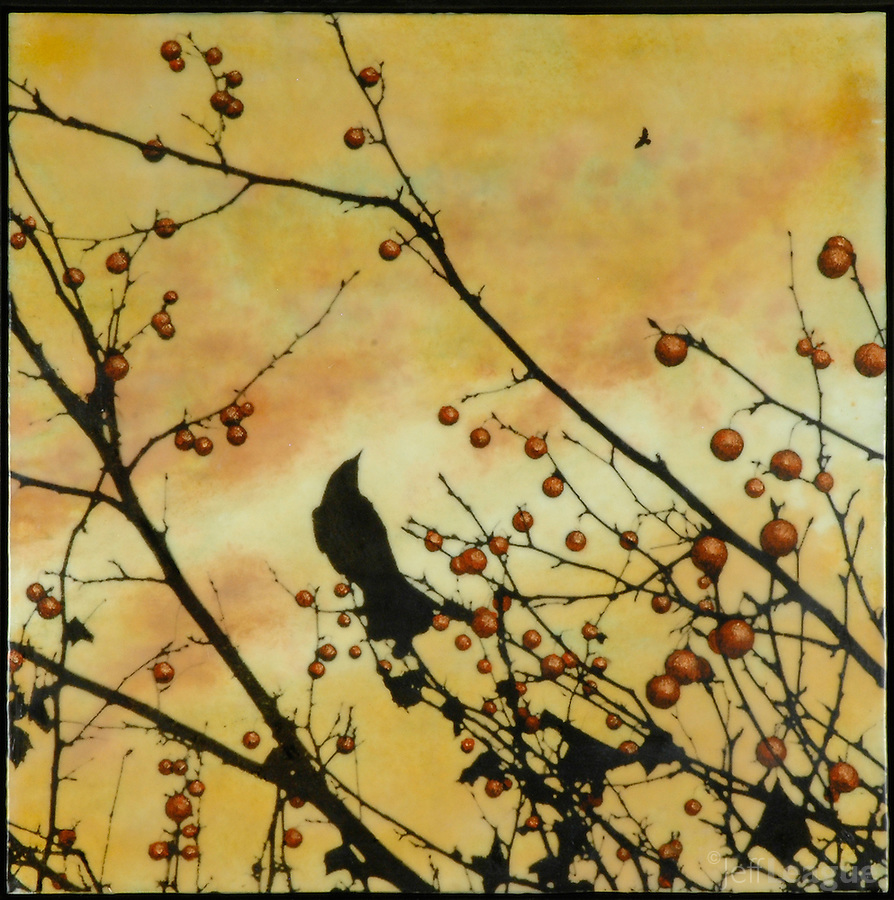 Crow in branch with berries in golden sunset sky photo transfer and encaustic painting.