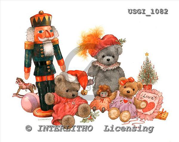 GIORDANO, CHRISTMAS ANIMALS, WEIHNACHTEN TIERE, NAVIDAD ANIMALES, Teddies, paintings+++++,USGI1082,#XA#
