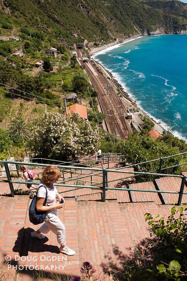 Stairs to access the railroad station, Corniglia, Cinque Terre, Italy