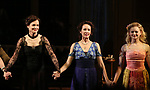 Elizabeth McGovern, Anna Camp and Anna Baryshnikov during the Broadway Opening Night performance Curtain Call Bows for The Roundabout Theatre Company production of 'Time and The Conways'  on October 10, 2017 at the American Airlines Theatre in New York City.