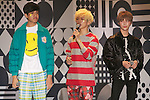 "(L to R) Kemio, Youdi Kondo, Devil, September 28, 2014, Tokyo, Japan : (L to R) Models Kemio, Youdi Kondo and Devil wearing fashion brand ""Zipper"" walk down the catwalk during the ""Moshi Moshi Nippon Festival 2014"" on September 28, 2014 in Tokyo, Japan. Several famous Idols such as Dempagumi idol group, Kyary Pamyu Pamyu and Harayuku models attend the Moshi Moshi Nippon Festival 2014 to promotes the Japanese pop culture (fashion, anime, music and food) to non-Japanese people. (Photo by Rodrigo Reyes Marin/AFLO)"