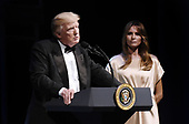 United States President Donald J. Trump speaks during the annual gala at the Ford's Theatre to honor President Abraham Lincoln's legacy, on June 4, 2017 in Washington, DC.  At right is first lady Melania Trump.<br /> Credit: Olivier Douliery / Pool via CNP