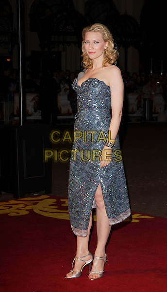 "CATE BLANCHETT.UK Premiere of ""Elizabeth - The Golden Age"" at the Odeon Leicester Square, London, England..October 23rd 2007.full length strapless grey gray blue silver sequined sequins jewel encrusted shoes slit split.CAP/ROS.©Steve Ross/Capital Pictures"