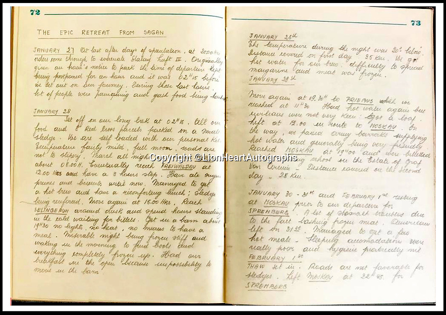 "BNPS.co.uk (01202 558833)<br /> Pic:   LionHeartAutographs/BNPS<br /> <br /> A four-page handwritten entry detailing the 100 km ""Epic Retreat from Sagan,"" the story of Stalag III's North Compound evacuation, beginning in late January 1945 until the prisoners' arrival in Spremberg on February 4, 1945.<br /> <br /> A remarkable diary kept by a POW in the Great Escape camp which includes a tribute to the 50 men executed in its reprisals has come to light.<br /> <br /> British RAF officer Joseph Gueuffen, of 609 Squadron, was shot down during a bombing raid over Germany and held captive at Stalag Luft III from late 1943 until the end of the war.<br /> <br /> The Belgian born pilot was kept in Block 109, a barrack which played an integral part in the mass escape of prisoners on March 24, 1944.<br /> <br /> The diary boasts a list of the officers executed by the Nazis following their recapture and a drawing of the permanent memorial for them by Belgian RAF pilot Bobby Laumans."