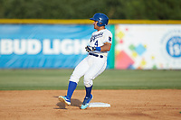 Jose Marquez (4) of the Burlington Royals rounds second base after hitting a double against the Johnson City Cardinals at Burlington Athletic Stadium on July 15, 2018 in Burlington, North Carolina. The Cardinals defeated the Royals 7-6.  (Brian Westerholt/Four Seam Images)