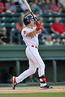 Center fielder Andrew Benintendi (2) of the Greenville Drive bats in a game against the Greensboro Grasshoppers on Wednesday, August 26, 2015, at Fluor Field at the West End in Greenville, South Carolina. Benintendi is a first-round pick of the Boston Red Sox in the 2015 First-Year Player Draft out of the University of Arkansas. Greenville won, 7-0. (Tom Priddy/Four Seam Images)