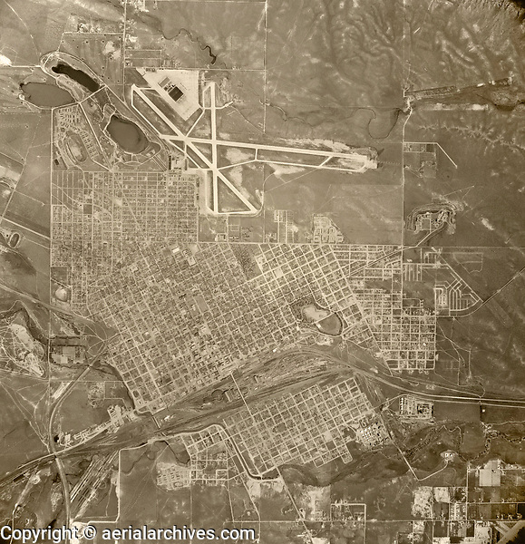 historical aerial photograph Cheyenne, Wyoming, 1947