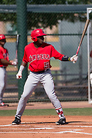 Los Angeles Angels outfielder Johan Sala (5) at bat during an Extended Spring Training game against the Chicago Cubs at Sloan Park on April 14, 2018 in Mesa, Arizona. (Zachary Lucy/Four Seam Images)