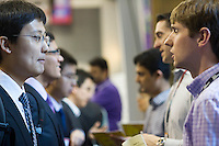 Engineers and applied science students attend the NYU-Poly Engineering and Technology Spring Career Fair at NYU-Poly in Brooklyn in in New York on February 28, 2013.  The US Labor Department reports new claims for unemployment benefits for last week dropped 22,000 to a seasonally adjusted 344,000.   © Frances M. Roberts)