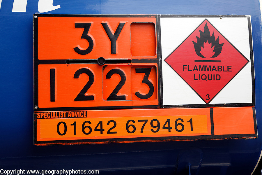 Hazchem signs on oil tanker