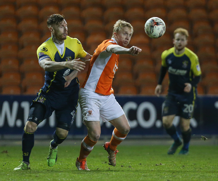 Blackpool's Mark Cullen battles with Stevenage's Jack King<br /> <br /> Photographer Alex Dodd/CameraSport<br /> <br /> The EFL Sky Bet League Two - Blackpool v Stevenage - Tuesday 14th March 2017 - Bloomfield Road - Blackpool<br /> <br /> World Copyright &copy; 2017 CameraSport. All rights reserved. 43 Linden Ave. Countesthorpe. Leicester. England. LE8 5PG - Tel: +44 (0) 116 277 4147 - admin@camerasport.com - www.camerasport.com