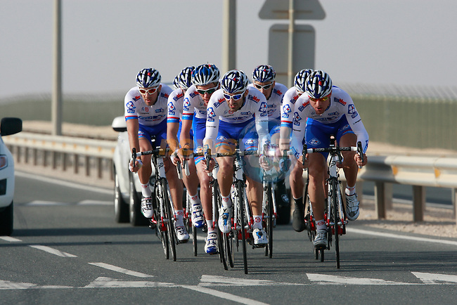 FDJ-BigMat team in action during the 2nd Stage of the 2012 Tour of Qatar a team time trial at Lusail Circuit, Doha, Qatar, 6th February 2012 (Photo Eoin Clarke/Newsfile)